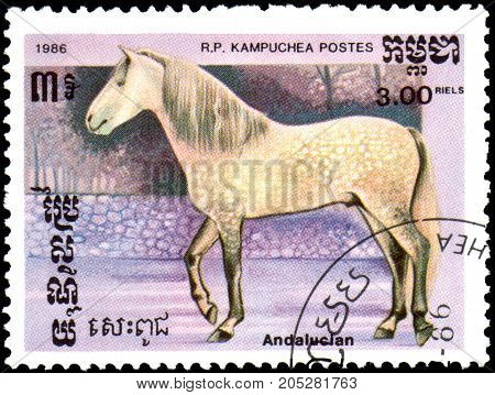 R.P. KAMPUCHEA - CIRCA 1986: A stamp printed in R.P.Kampuchea shows a Andalusian horse, series breed of horses