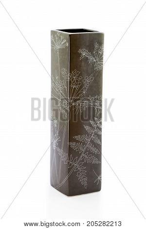 vase isolated. Ceramic vase on white background. Decorate house with shiny vase.