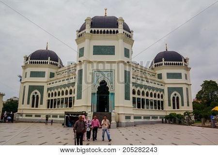 MEDAN, INDONESIA - SEPTEMBER 19: Great Mosque of Medan or Masjid Raya Al Mashun is a mosque located in Medan, Indonesia. The mosque was built in the year 1906 and completed in 1909 and one of the largest mosques in Medan