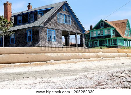 Luxury beach house being built for sale outdoors.