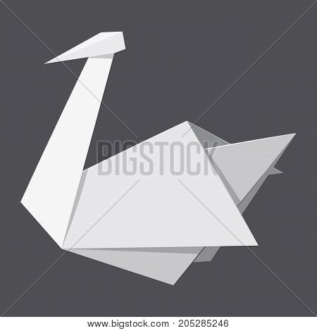 Origami swan concept background. Realistic illustration of origami swan vector concept background for web design