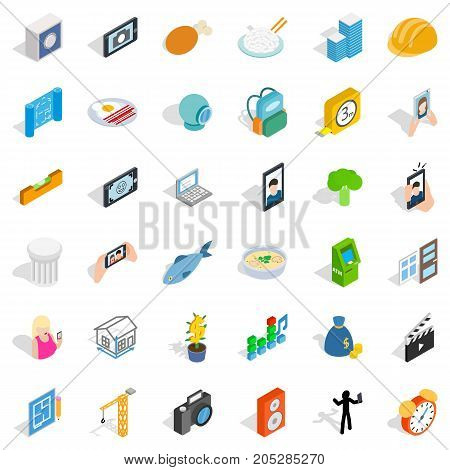 Specific icons set. Isometric style of 36 specific vector icons for web isolated on white background