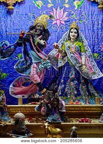 Deities in Sri Krishna Balaram Mandir ISKCON Temple of Vrindavan. Vrindavan is considered to be a holy place. The major tradition followed in the area is Vaisnavism. Uttar Pradesh India. - July 2017.