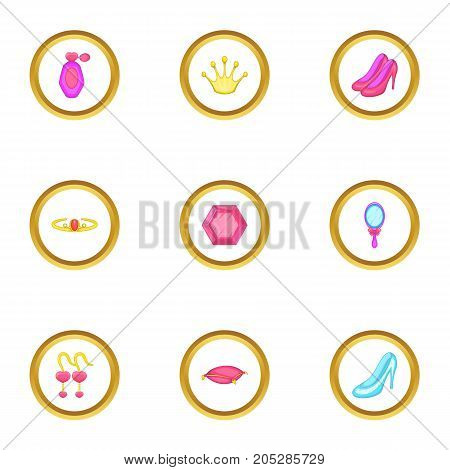 Princess thing icons set. Cartoon style set of 9 princess thing vector icons for web design
