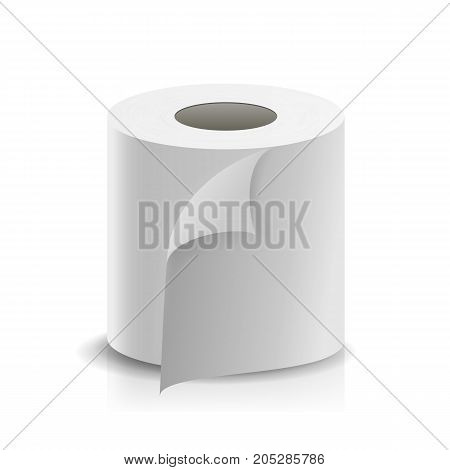 Paper Tape Roll Vector. Bathroom Hygiene. 3D Toilet Paper Blank. Packaging Kitchen Towel, Toilet Paper Roll Isolated Illustration