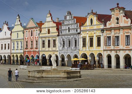 KUTNA HORA, CZECH REPUBLIC - AUGUST 24, 2017: Architecture in the main square of the historical town of Telc in southern Moravia on August 24, 2017.