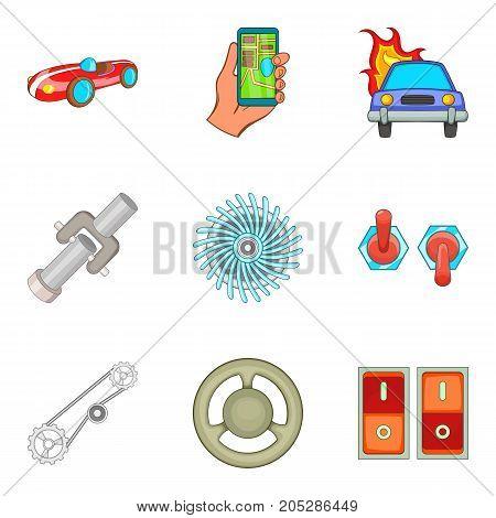 Automotive electronics icons set. Cartoon set of 9 automotive electronics vector icons for web isolated on white background