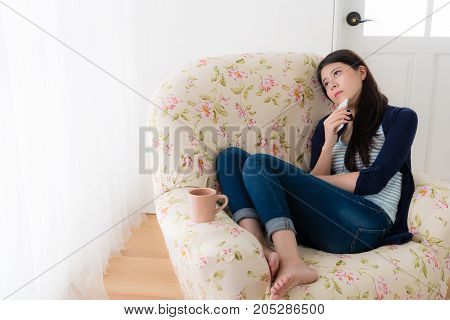 Pretty Sadness Woman Holding Mobile Smartphone