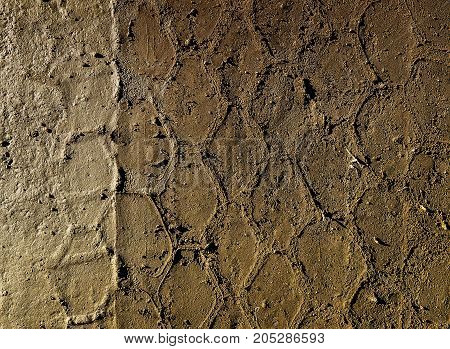 Brown soil texture. Brown soil.Tire track on the brown earth. Grunge background. Grunge earth. Grunge soil. Grunge brown. Car tires print. Tan background. Natural background.