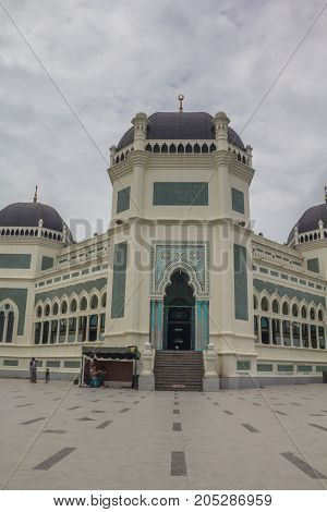 MEDAN, INDONESIA - SEPTEMBER 19,2017 : Great Mosque of Medan or Masjid Raya Al Mashun is a mosque located in Medan, Indonesia. The mosque was built in the year 1906 and completed in 1909 and one of the largest mosques in Medan