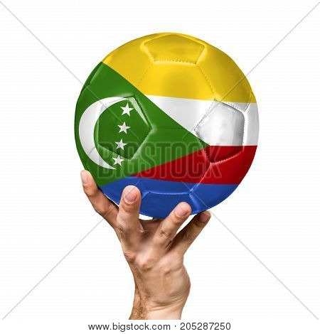 soccer ball with the image of the flag of Comoros, ball isolated on white background.