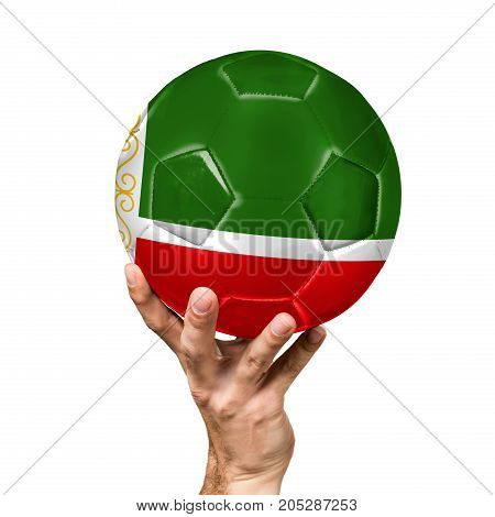 soccer ball with the image of the flag of Chechen Republic, ball isolated on white background.