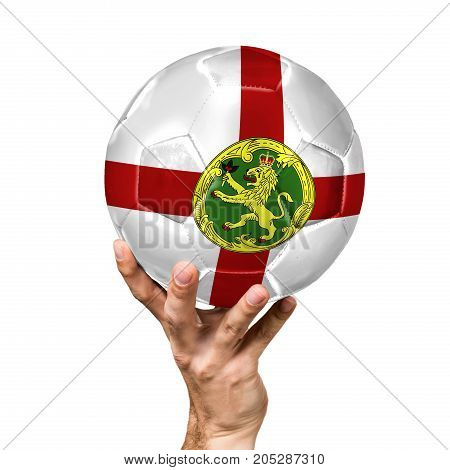 soccer ball with the image of the flag of Alderney, ball isolated on white background.