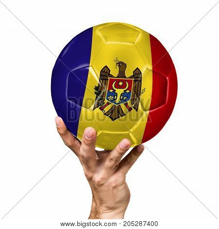 soccer ball with the image of the flag of Moldova, ball isolated on white background.