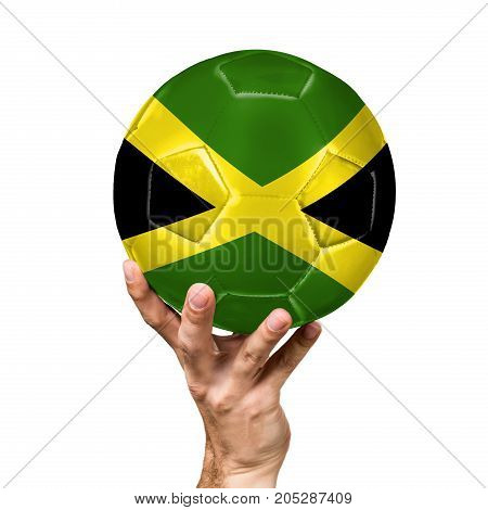 soccer ball with the image of the flag of Jamaica, ball isolated on white background.