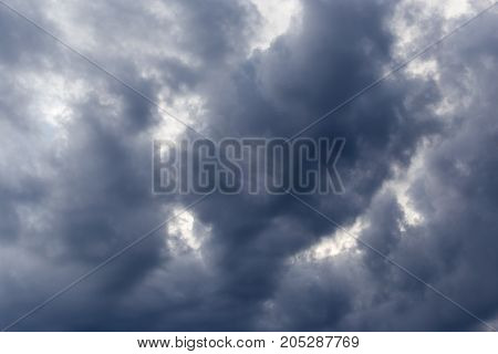 clouds after a thunderstorm . In a park in the nature