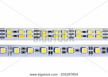 LED strip light isolated on white background