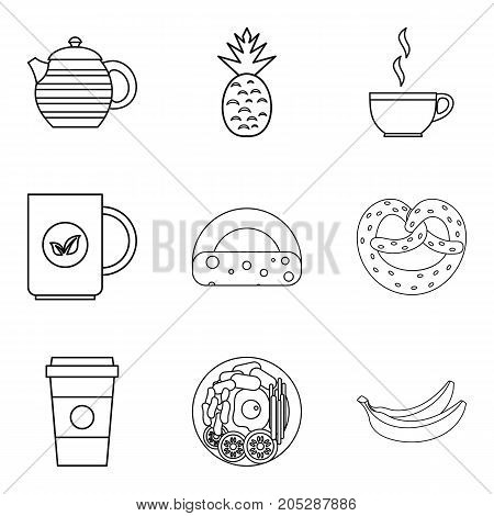 Coffee to go icons set. Outline set of 9 coffee to go vector icons for web isolated on white background
