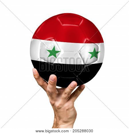 soccer ball with the image of the flag of Syria, ball isolated on white background.