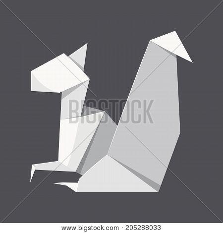 Origami squirrel concept background. Realistic illustration of origami squirrel vector concept background for web design
