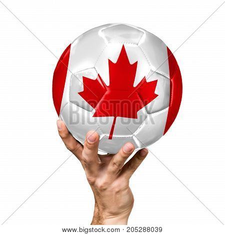 soccer ball with the image of the flag of Canada, ball isolated on white background.