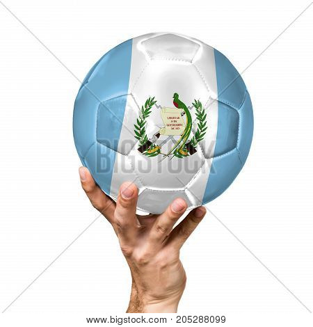 soccer ball with the image of the flag of Guatemala, ball isolated on white background.