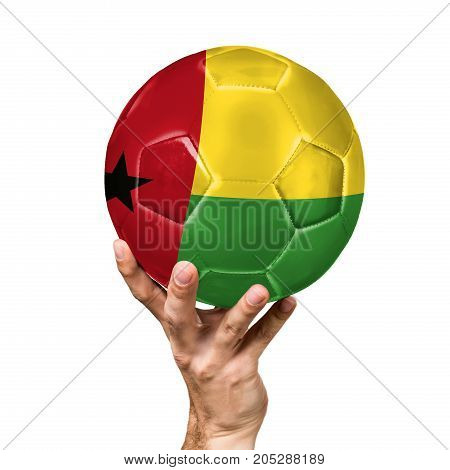soccer ball with the image of the flag of Guinea-Bissau, ball isolated on white background.