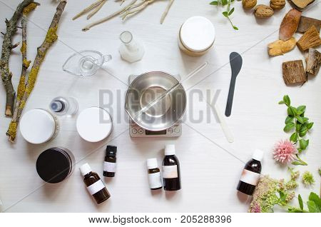 Moroccan Soap Preparation. Natural Cosmetics Recipe. Essential Oils And Herbal Composition Ingredien