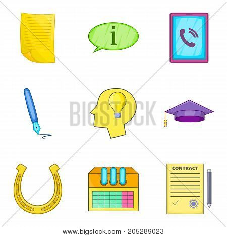 Progressive idea icons set. Cartoon set of 9 progressive idea vector icons for web isolated on white background