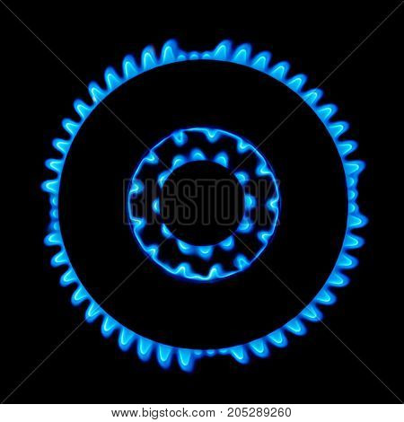 Blue gas stove flame in the dark background