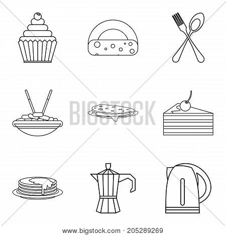 Lunch in dining room icons set. Outline set of 9 lunch in dining room vector icons for web isolated on white background