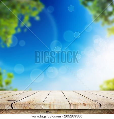 Fresh spring green leaves with blue bokeh and sunlight and wood floor. Natural background
