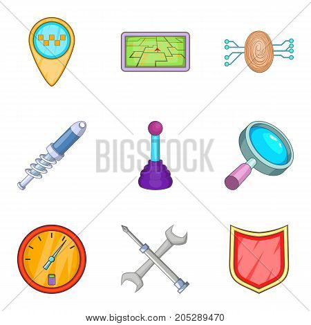 Delivery of spare parts icons set. Cartoon set of 9 delivery of spare parts vector icons for web isolated on white background