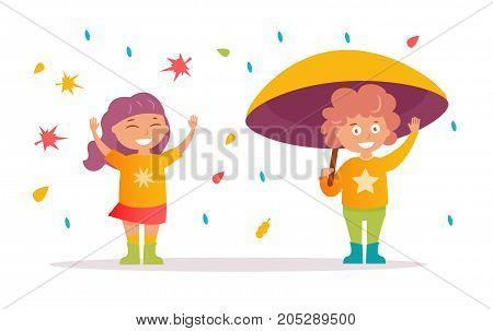 Girl throws autumn leaves, boy under umbrella , rain. Vector. Cartoon. Isolated art on white background. Flat