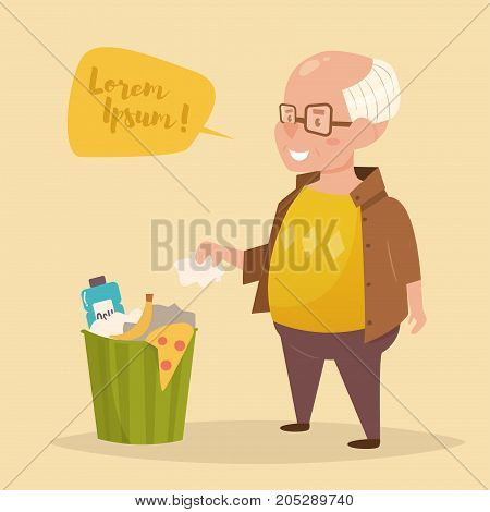 Old man throws garbage in the trash. Vector. Cartoon. Isolated art on white background. Flat.