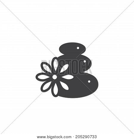 Hot stones icon vector, filled flat sign, solid pictogram isolated on white. Symbol, logo illustration.