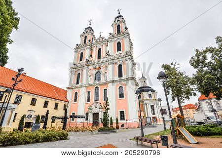 Vilnius, Lithuania - August 13, 2017: Beautiful old Church of St. Catherine, Vilnius, Lithuania. Late baroque style church, built during 1625-1743. Part of Benedictine monastery ensemble.