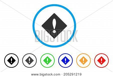 Error rounded icon. Style is a flat error grey symbol inside light blue circle with black, gray, green, blue, red, orange versions. Vector designed for web and software interfaces.