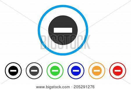 Forbidden rounded icon. Style is a flat forbidden grey symbol inside light blue circle with black, gray, green, blue, red, orange versions. Vector designed for web and software interfaces.