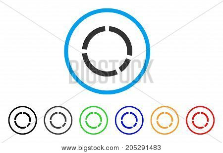 Round Diagram rounded icon. Style is a flat round diagram gray symbol inside light blue circle with black, gray, green, blue, red, orange variants. Vector designed for web and software interfaces.