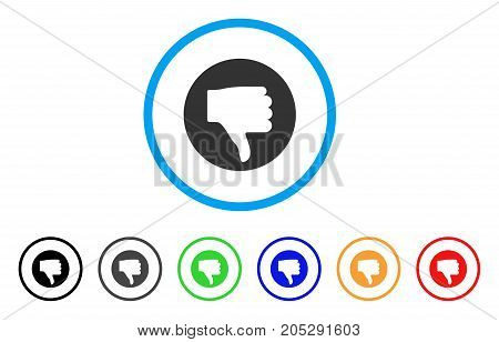 Thumb Down rounded icon. Style is a flat thumb down grey symbol inside light blue circle with black, gray, green, blue, red, orange color versions. Vector designed for web and software interfaces.