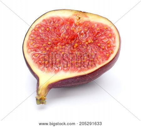 Figs Fruits With Cut Slice Isolated On White. Clipping Path