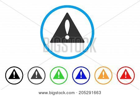 Warning rounded icon. Style is a flat warning grey symbol inside light blue circle with black, gray, green, blue, red, orange variants. Vector designed for web and software interfaces.