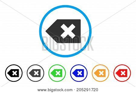 Backspace rounded icon. Style is a flat backspace grey symbol inside light blue circle with black, gray, green, blue, red, orange variants. Vector designed for web and software interfaces.
