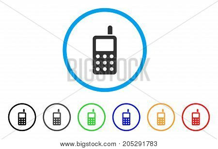 Cell Phone rounded icon. Style is a flat cell phone grey symbol inside light blue circle with black, gray, green, blue, red, orange color versions. Vector designed for web and software interfaces.