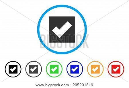 Check rounded icon. Style is a flat check gray symbol inside light blue circle with black, gray, green, blue, red, orange variants. Vector designed for web and software interfaces.