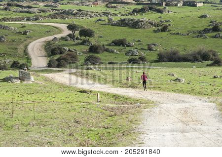 Man running on a dirt road. Photo taken in Dehesa de Navalvillar Colmenar Viejo Madrid Spain