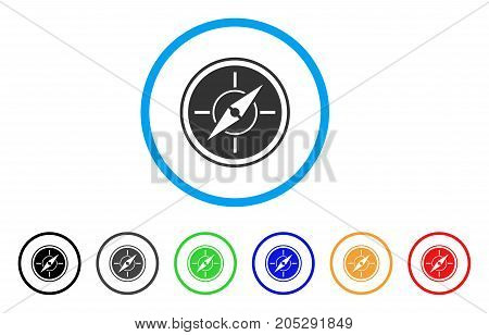 Compass rounded icon. Style is a flat compass grey symbol inside light blue circle with black, gray, green, blue, red, orange versions. Vector designed for web and software interfaces.