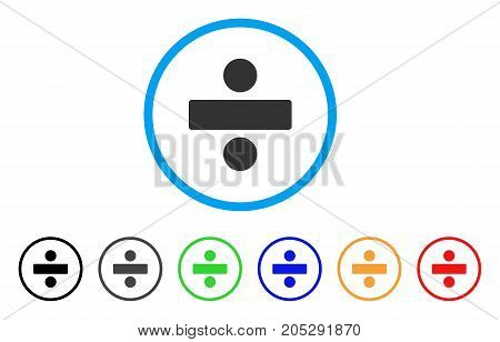 Divide Math Operation rounded icon. Style is a flat divide math operation grey symbol inside light blue circle with black, gray, green, blue, red, orange variants.
