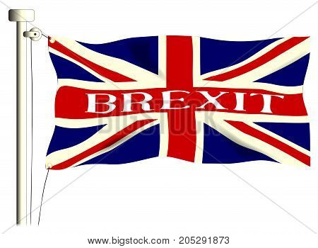 The British Union Jack Flag with Brexit isolated on white.